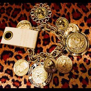Anthropologie Retro Gold Tone Coin Bracelet NWT